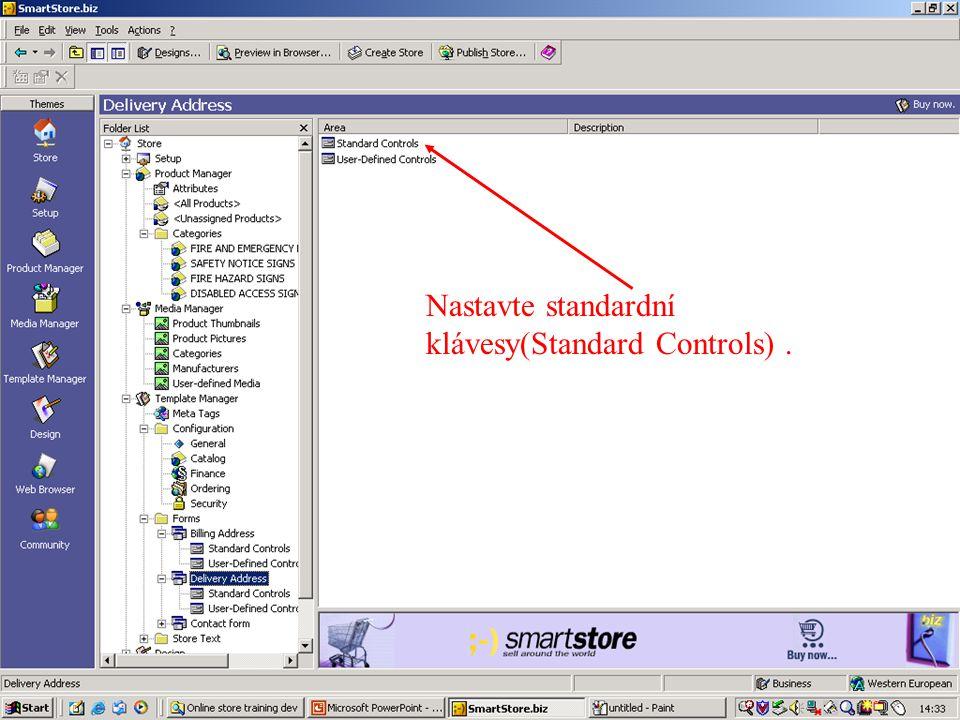 Nastavte standardní klávesy(Standard Controls).