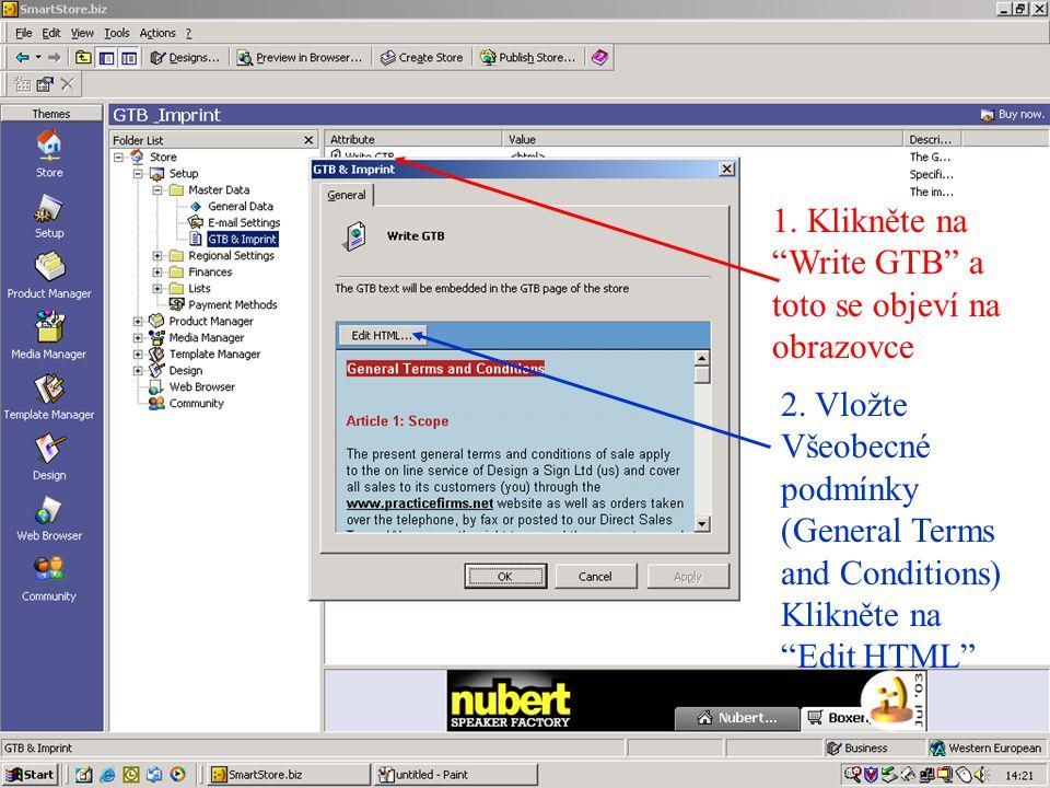 1. Klikněte na Write GTB a toto se objeví na obrazovce 2.