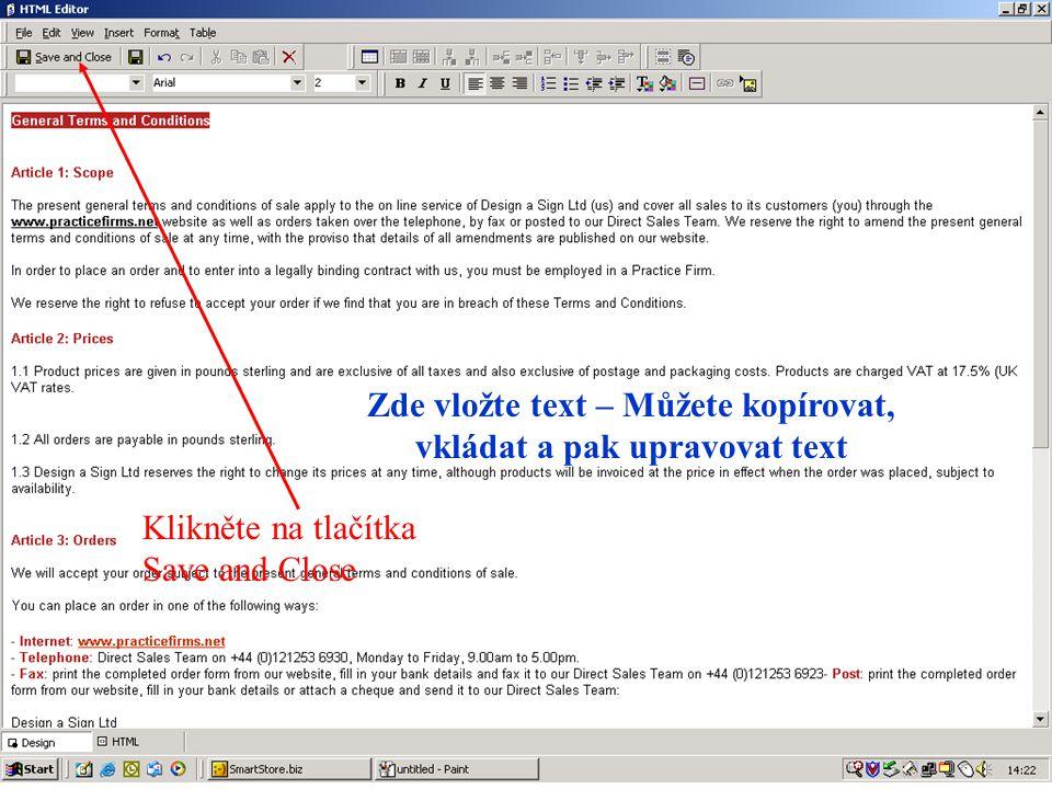 K publikování této stránky na serveru stiskněte Publish store – počítač musí být schopen poslat data na server EUROPEN