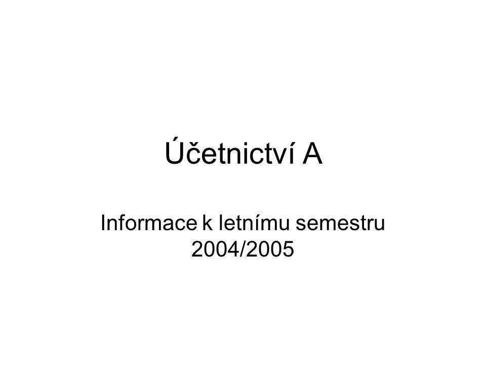 Účetnictví A Informace k letnímu semestru 2004/2005