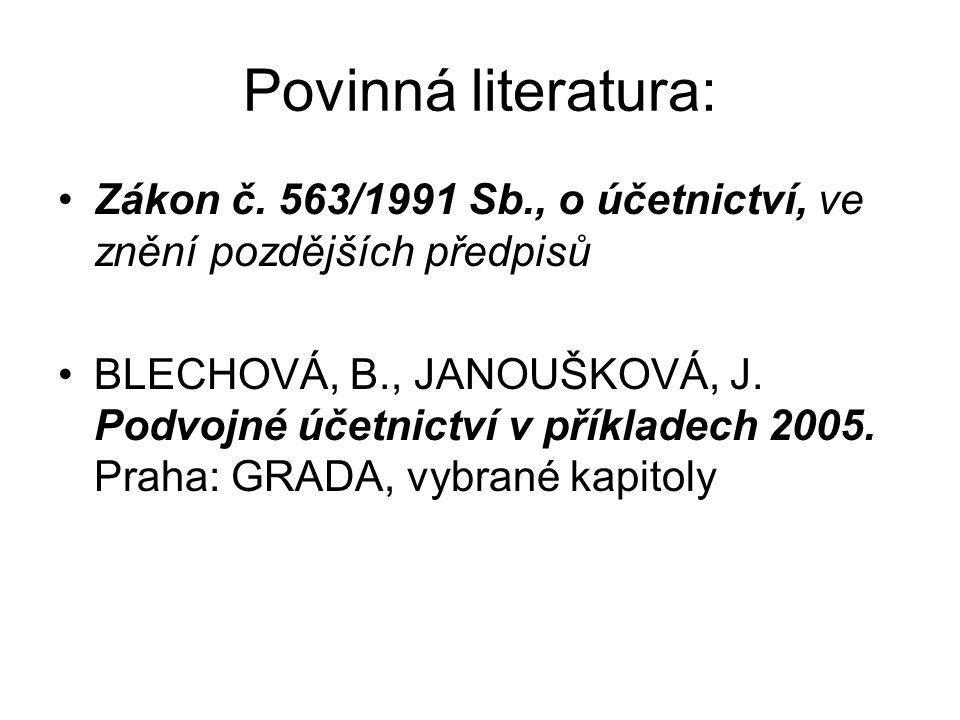 Povinná literatura: Zákon č.
