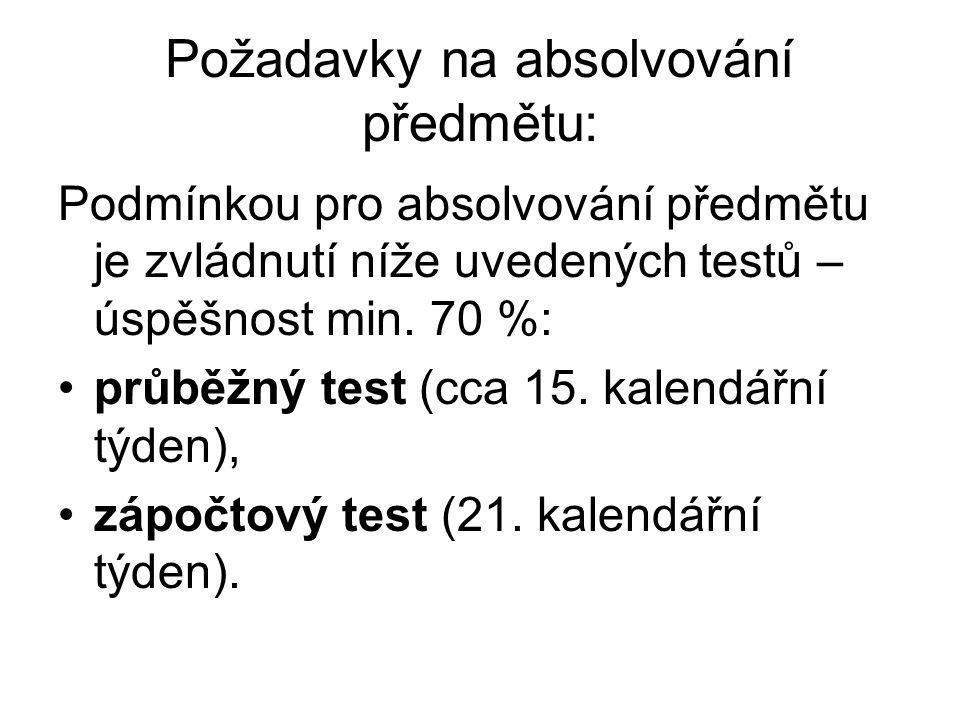 Požadavky na absolvování předmětu: Podmínkou pro absolvování předmětu je zvládnutí níže uvedených testů – úspěšnost min.