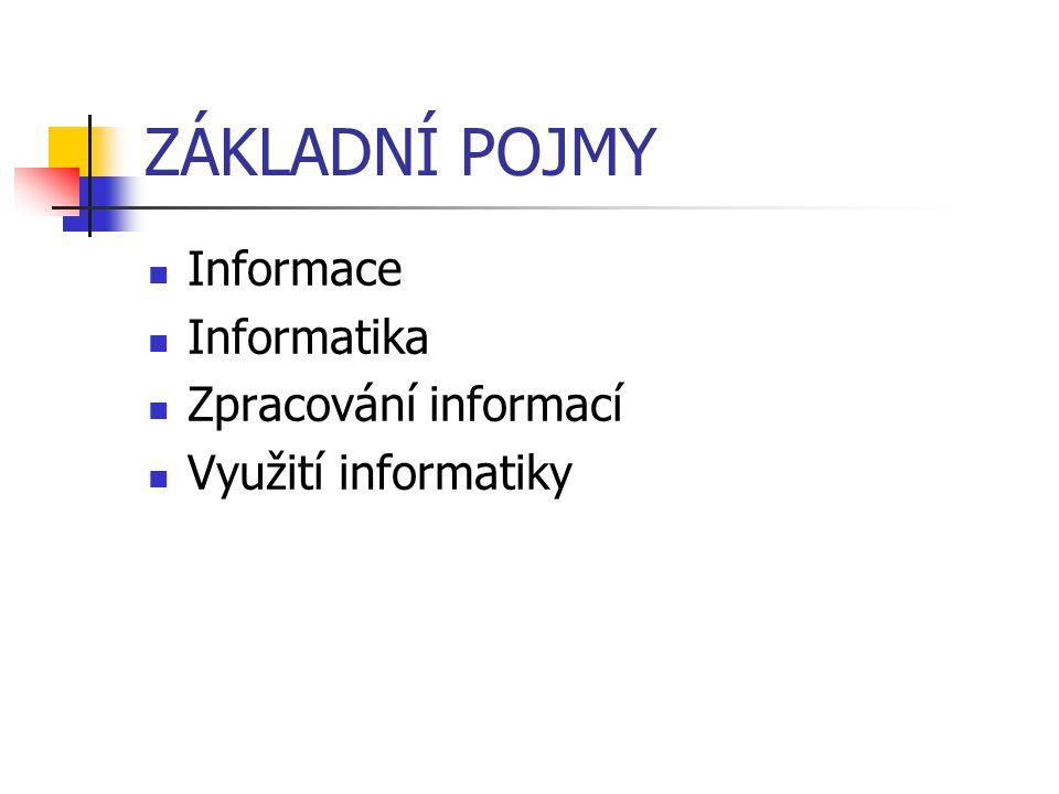ZÁKLADNÍ POJMY Informace Informatika Zpracování informací Využití informatiky