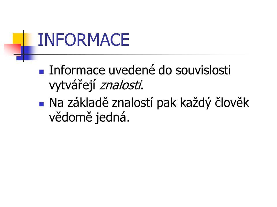 INFORMACE Informace uvedené do souvislosti vytvářejí znalosti. Na základě znalostí pak každý člověk vědomě jedná.