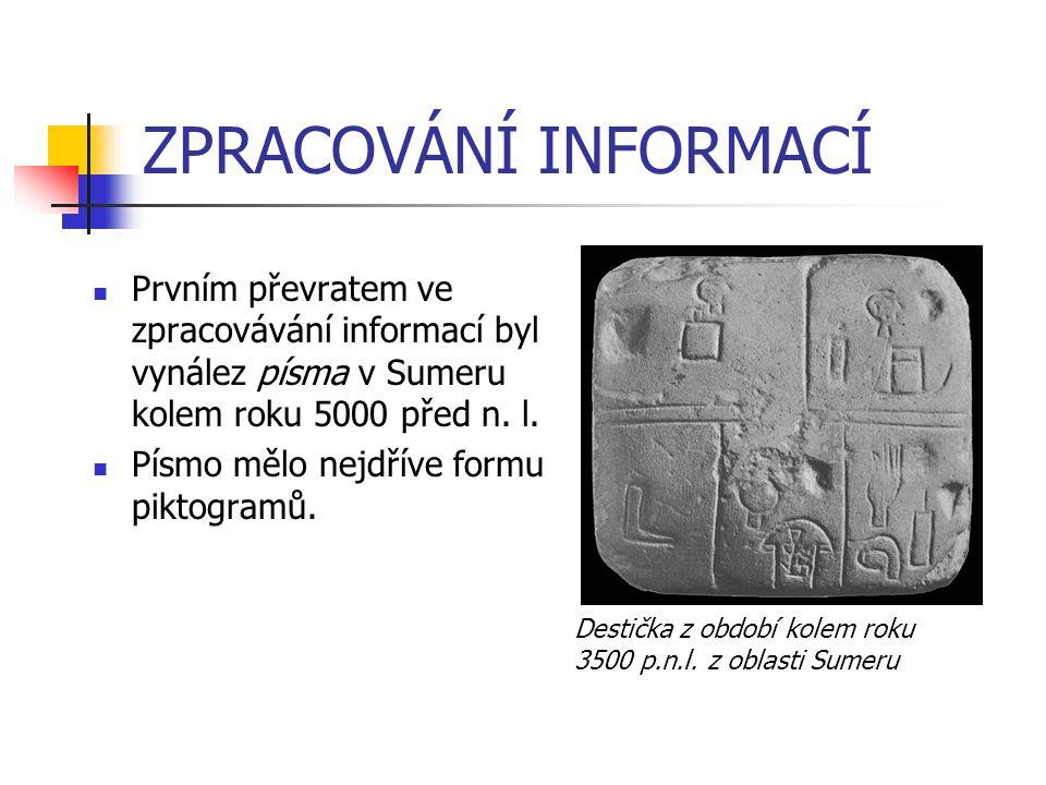 ZPRACOVÁNÍ INFORMACÍ Prvním převratem ve zpracovávání informací byl vynález písma v Sumeru kolem roku 5000 před n. l. Písmo mělo nejdříve formu piktog