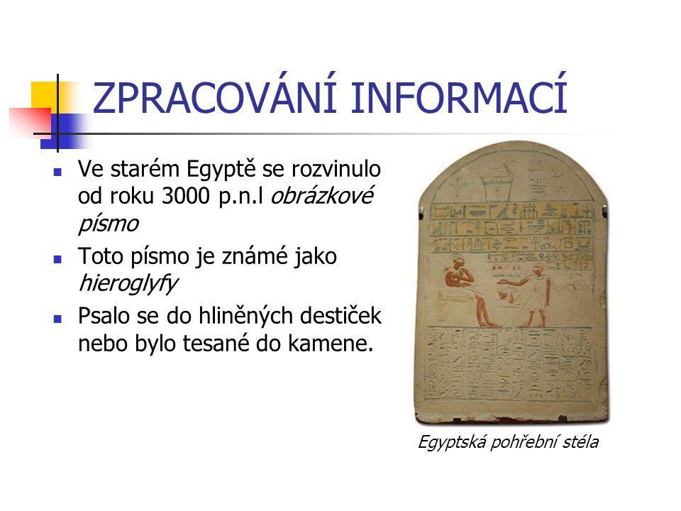ZPRACOVÁNÍ INFORMACÍ Ve starém Egyptě se rozvinulo od roku 3000 p.n.l obrázkové písmo Toto písmo je známé jako hieroglyfy Psalo se do hliněných destič