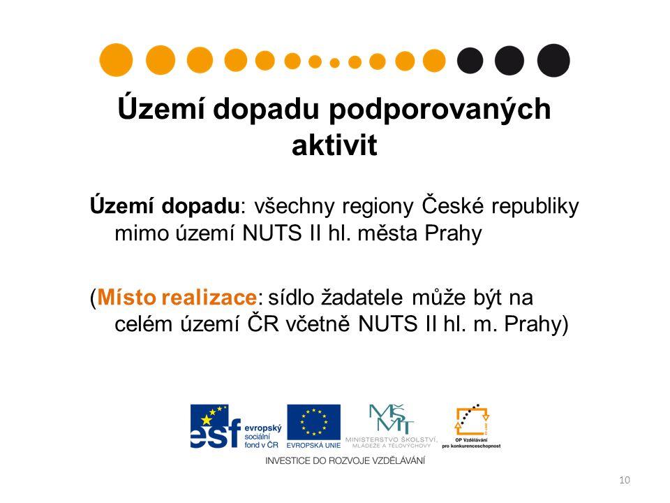 Území dopadu podporovaných aktivit Území dopadu: všechny regiony České republiky mimo území NUTS II hl.