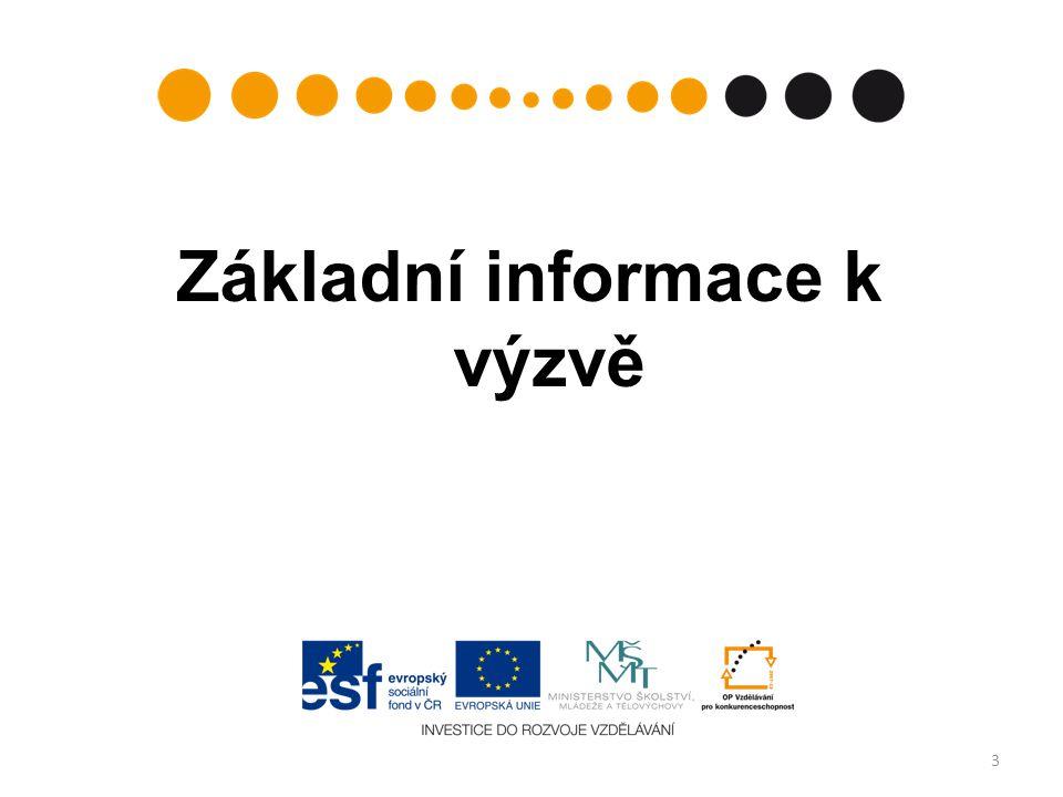 Termíny výzvy číslo výzvy v informačním systému: 31 (Prioritní osa: 2 – Terciární vzdělávání, výzkum a vývoj, Oblast podpory 2.4 – Partnerství a sítě) datum vyhlášení výzvy:18.