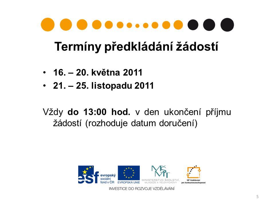 Termíny předkládání žádostí 16. – 20. května 2011 21.