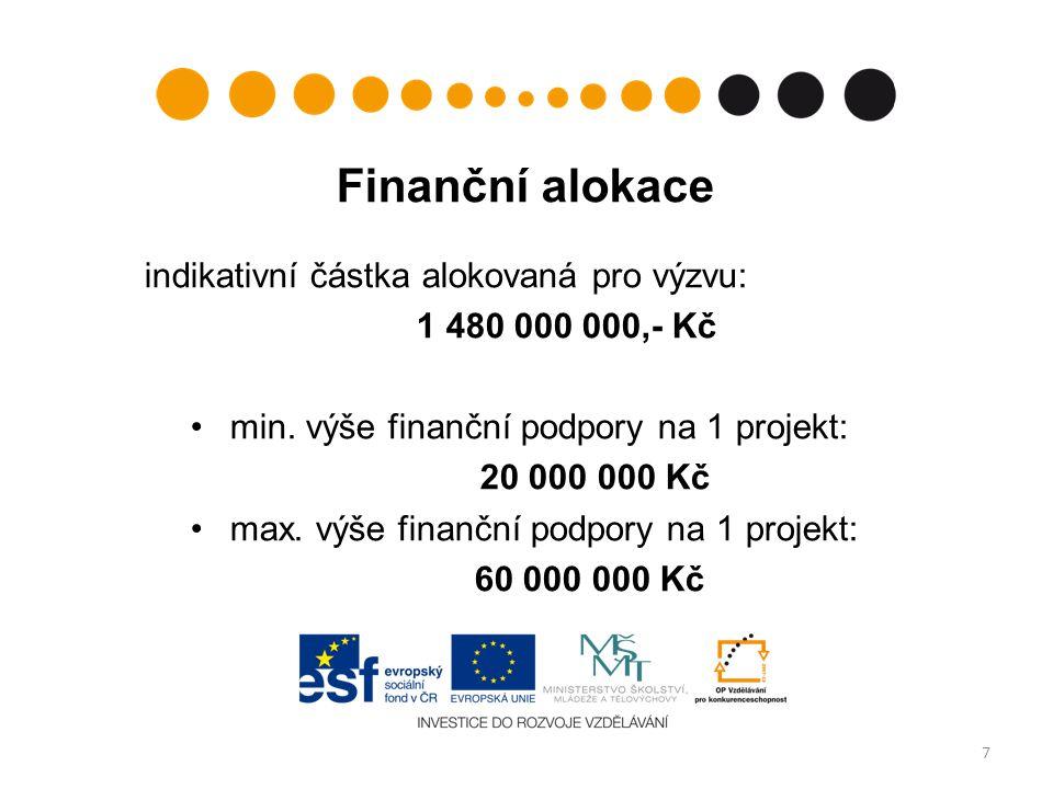 Finanční alokace indikativní částka alokovaná pro výzvu: 1 480 000 000,- Kč min.