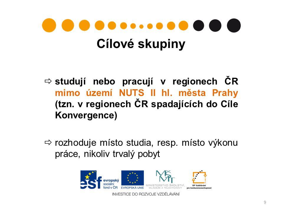 Cílové skupiny  studují nebo pracují v regionech ČR mimo území NUTS II hl.