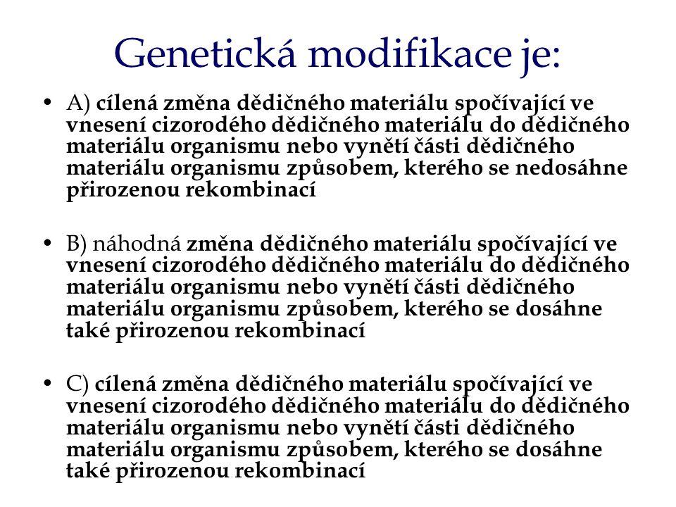 Genetická modifikace je: A) cílená změna dědičného materiálu spočívající ve vnesení cizorodého dědičného materiálu do dědičného materiálu organismu nebo vynětí části dědičného materiálu organismu způsobem, kterého se nedosáhne přirozenou rekombinací B) náhodná změna dědičného materiálu spočívající ve vnesení cizorodého dědičného materiálu do dědičného materiálu organismu nebo vynětí části dědičného materiálu organismu způsobem, kterého se dosáhne také přirozenou rekombinací C) cílená změna dědičného materiálu spočívající ve vnesení cizorodého dědičného materiálu do dědičného materiálu organismu nebo vynětí části dědičného materiálu organismu způsobem, kterého se dosáhne také přirozenou rekombinací