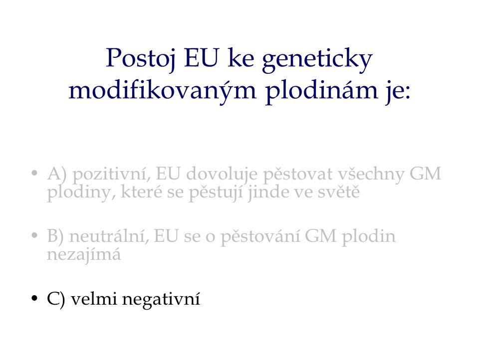 Postoj EU ke geneticky modifikovaným plodinám je: A) pozitivní, EU dovoluje pěstovat všechny GM plodiny, které se pěstují jinde ve světě B) neutrální, EU se o pěstování GM plodin nezajímá C) velmi negativní