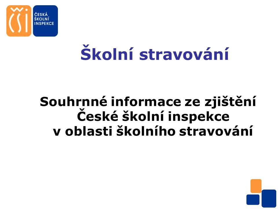Školní stravování Souhrnné informace ze zjištění České školní inspekce v oblasti školního stravování