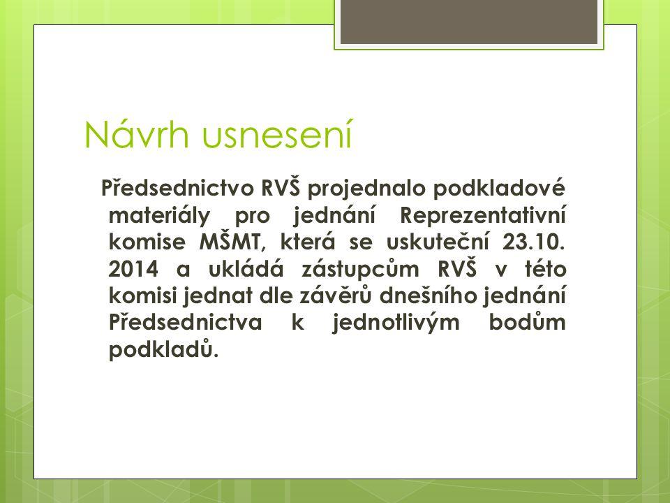 Návrh usnesení Předsednictvo RVŠ projednalo podkladové materiály pro jednání Reprezentativní komise MŠMT, která se uskuteční 23.10.