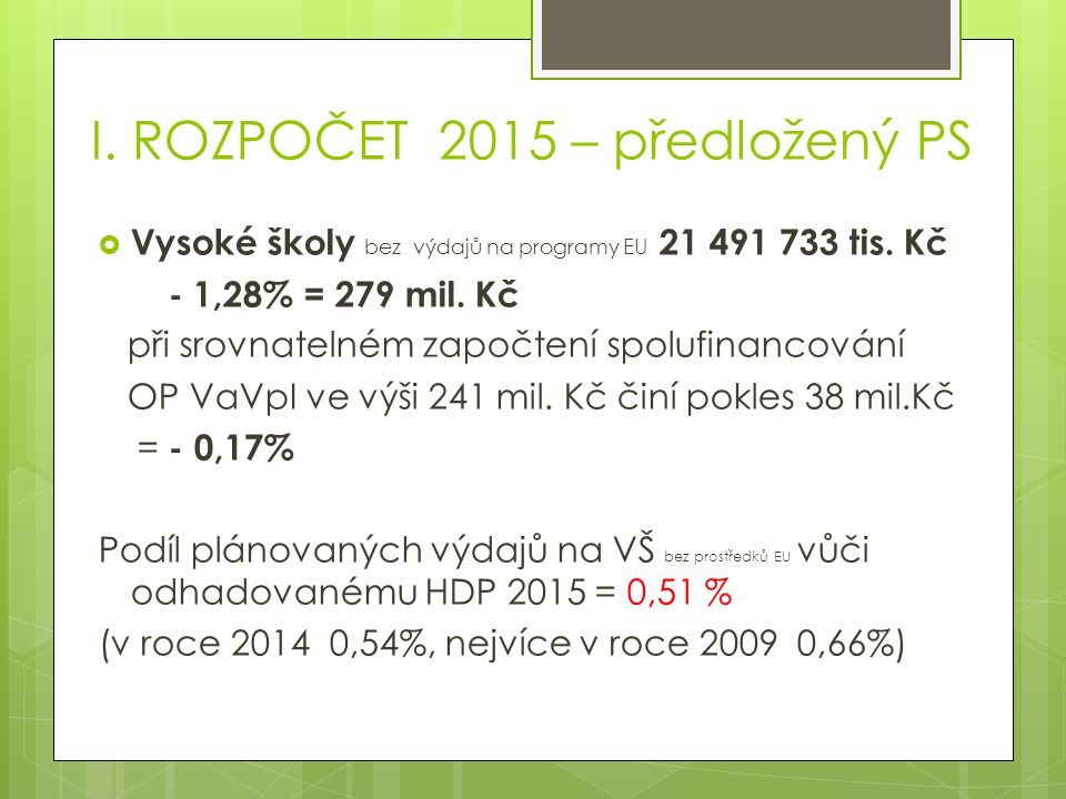 I. ROZPOČET 2015 – předložený PS  Vysoké školy bez výdajů na programy EU 21 491 733 tis.