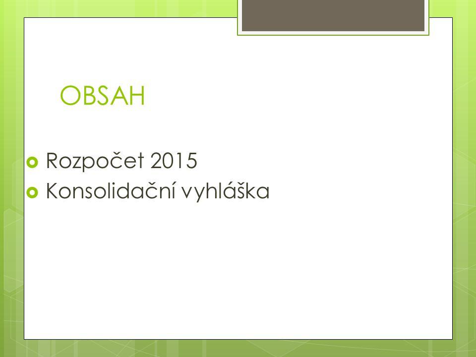 OBSAH  Rozpočet 2015  Konsolidační vyhláška