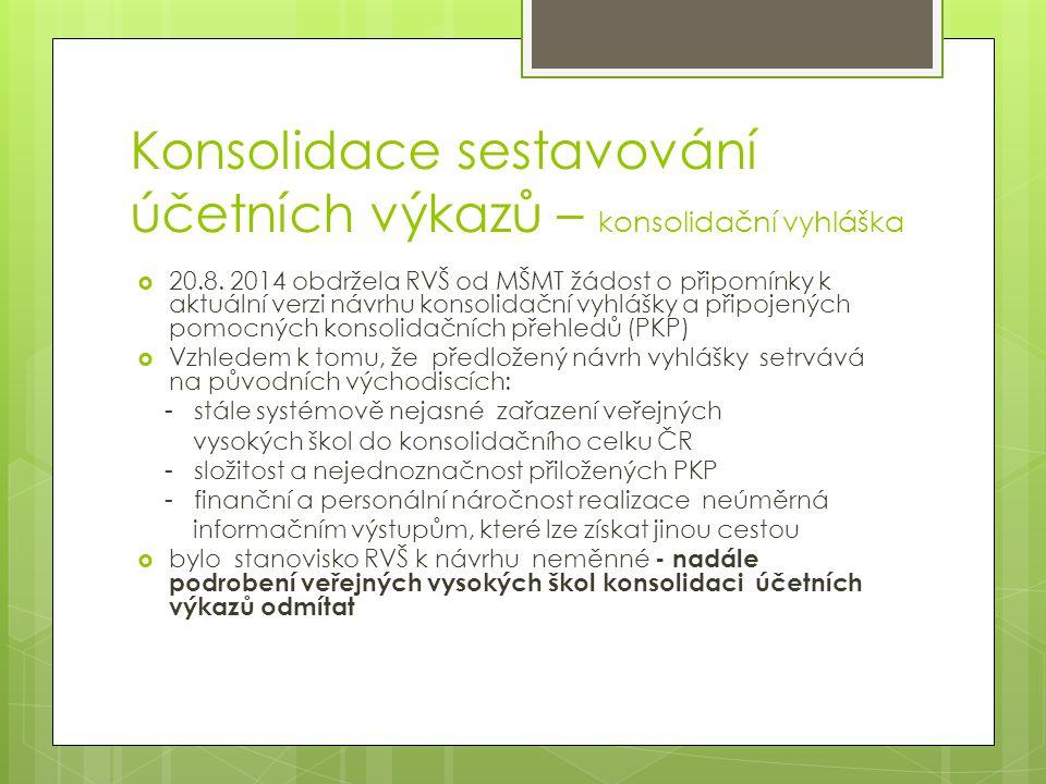 Konsolidace sestavování účetních výkazů – konsolidační vyhláška  20.8. 2014 obdržela RVŠ od MŠMT žádost o připomínky k aktuální verzi návrhu konsolid