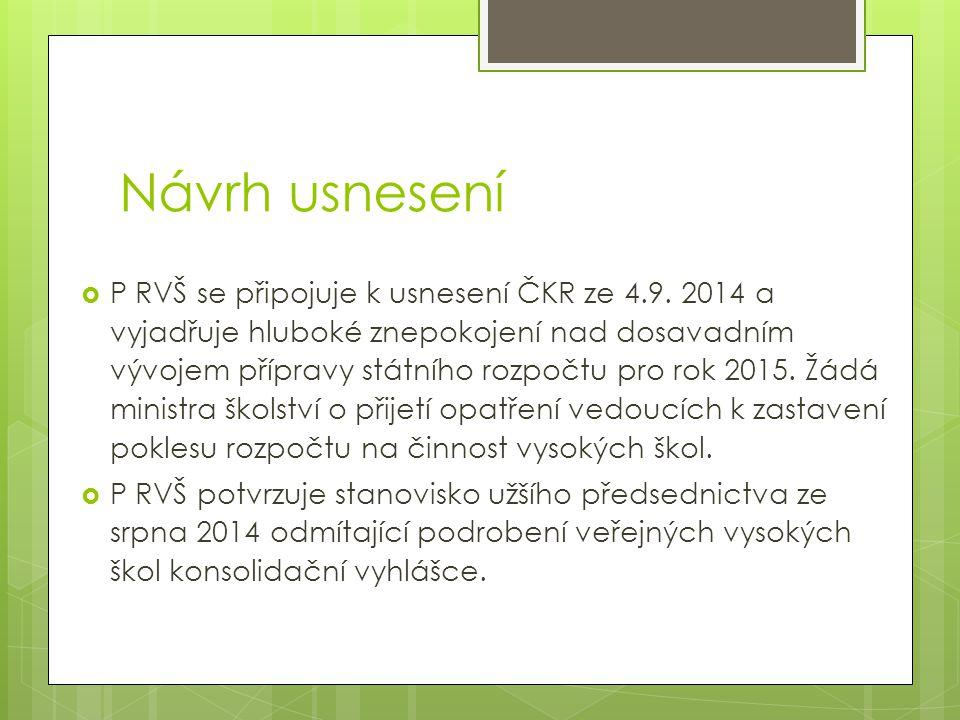 Návrh usnesení  P RVŠ se připojuje k usnesení ČKR ze 4.9.