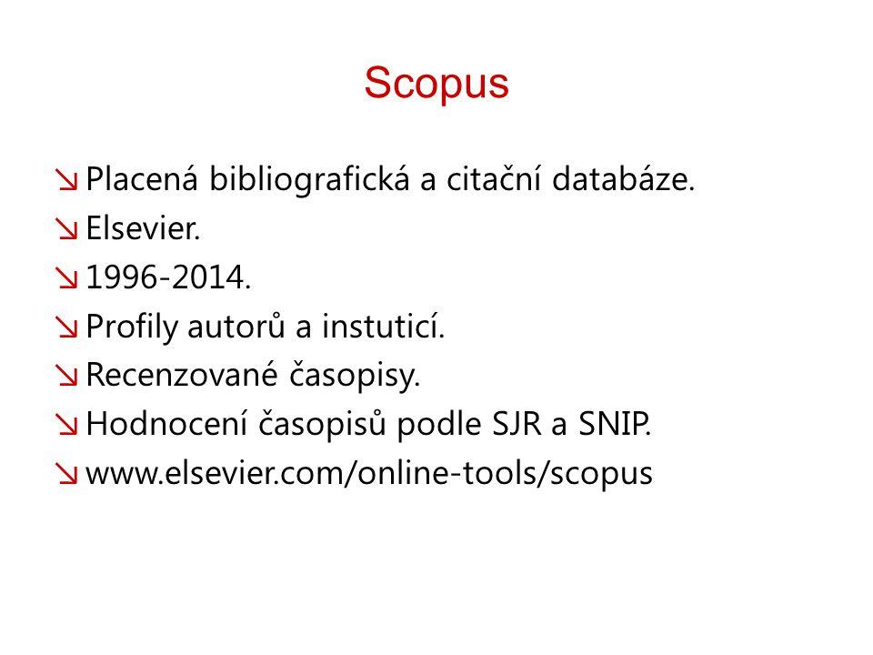 Scopus ↘ Placená bibliografická a citační databáze.