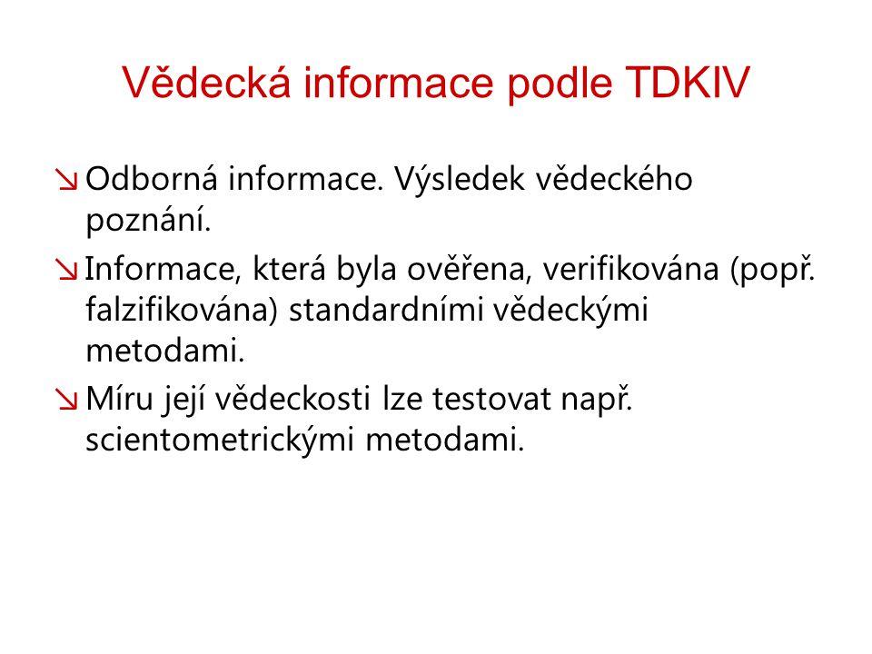 Vědecká informace podle TDKIV ↘ Odborná informace.