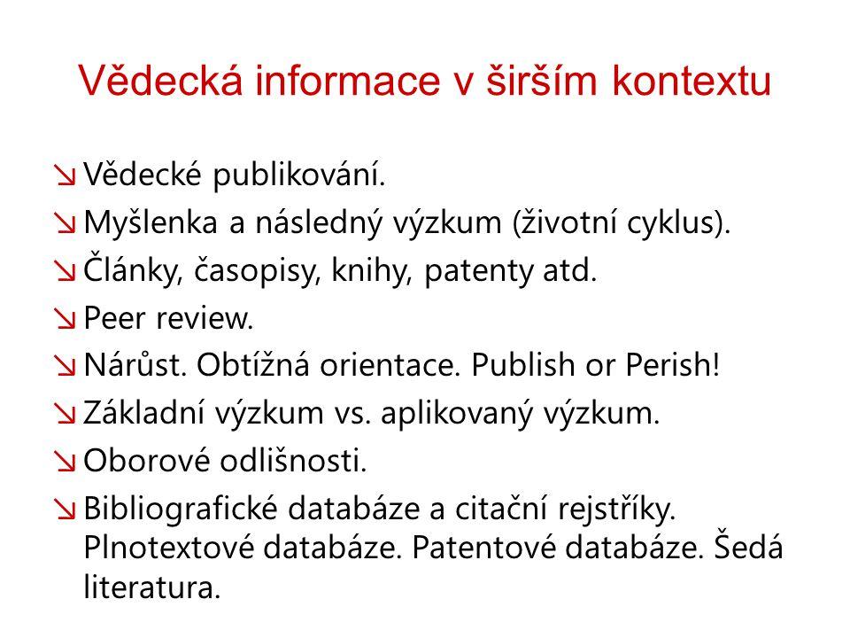 Vědecká informace v širším kontextu ↘ Vědecké publikování.