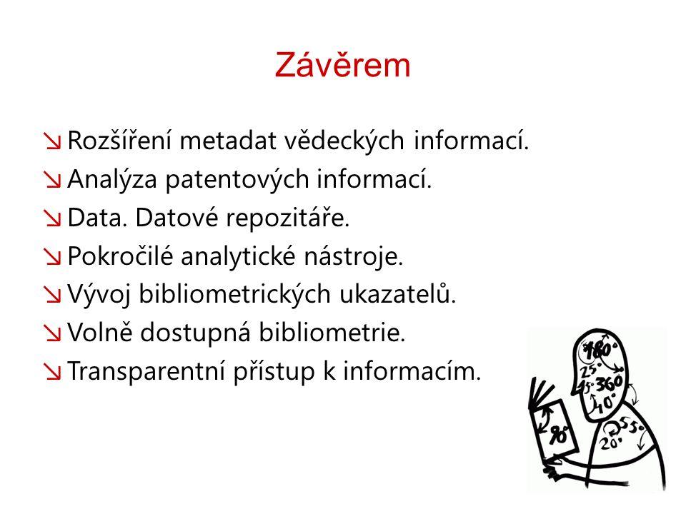 Závěrem ↘ Rozšíření metadat vědeckých informací. ↘ Analýza patentových informací.