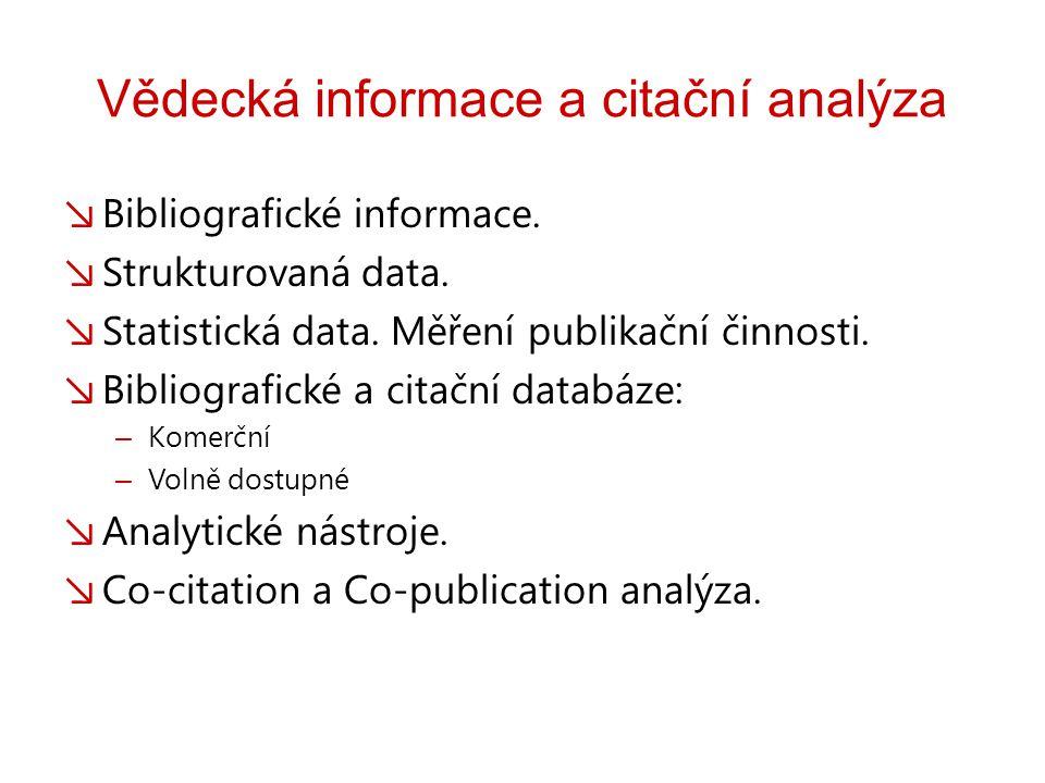 Vědecká informace a citační analýza ↘ Bibliografické informace.