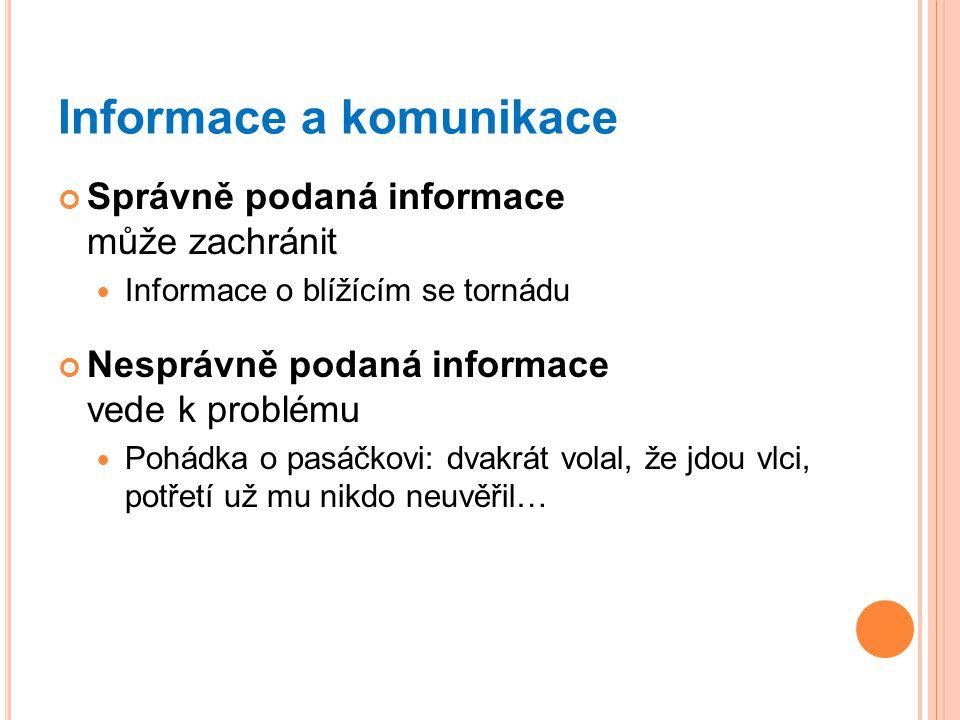 Informace a komunikace Správně podaná informace může zachránit Informace o blížícím se tornádu Nesprávně podaná informace vede k problému Pohádka o pa