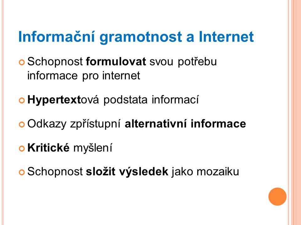Informační gramotnost a Internet Schopnost formulovat svou potřebu informace pro internet Hypertextová podstata informací Odkazy zpřístupní alternativ