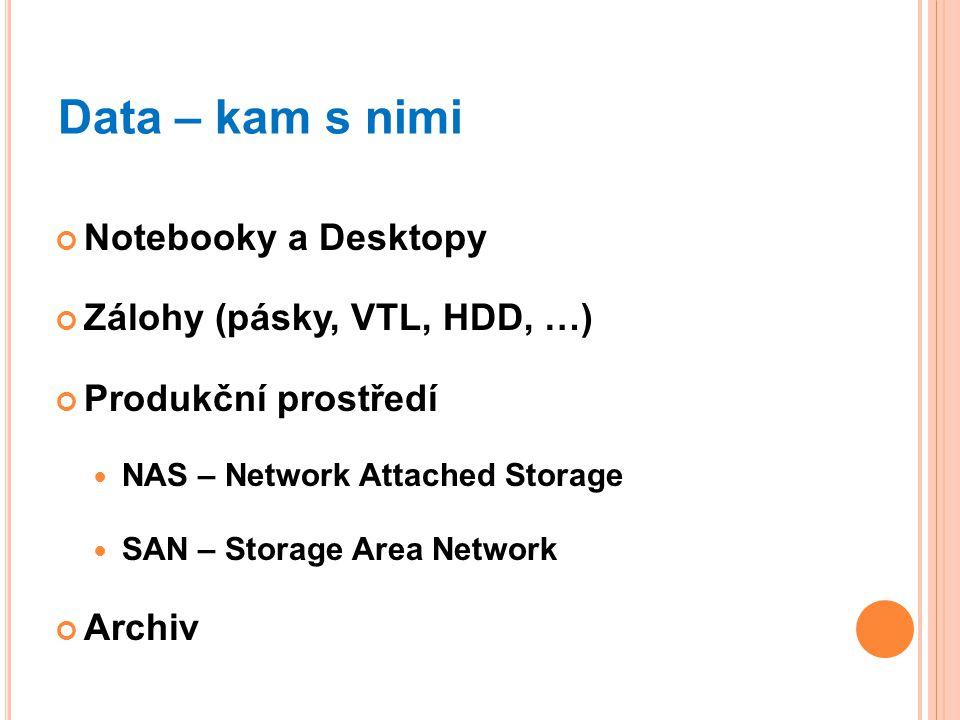 Data – kam s nimi Notebooky a Desktopy Zálohy (pásky, VTL, HDD, …) Produkční prostředí NAS – Network Attached Storage SAN – Storage Area Network Archi