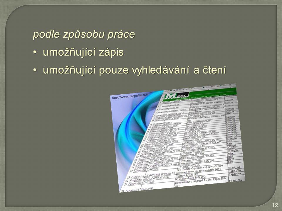 12 podle způsobu práce umožňující zápis umožňující zápis umožňující pouze vyhledávání a čtení umožňující pouze vyhledávání a čtení