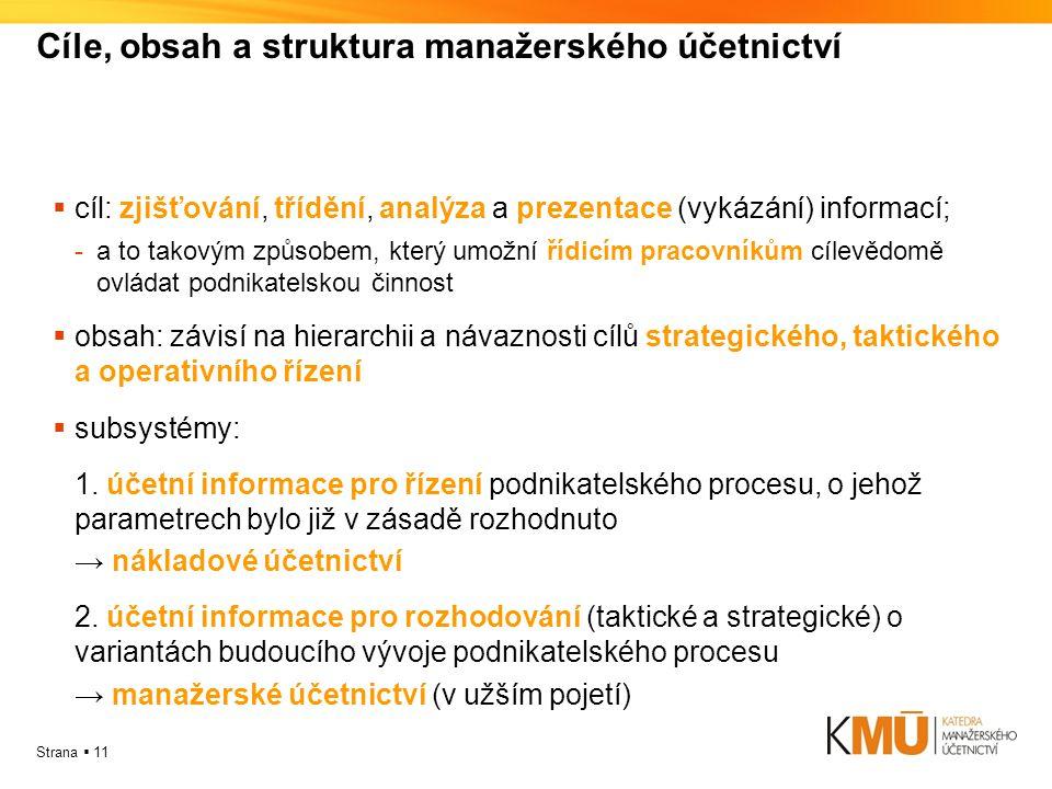 Strana  11 Cíle, obsah a struktura manažerského účetnictví  cíl: zjišťování, třídění, analýza a prezentace (vykázání) informací; -a to takovým způso