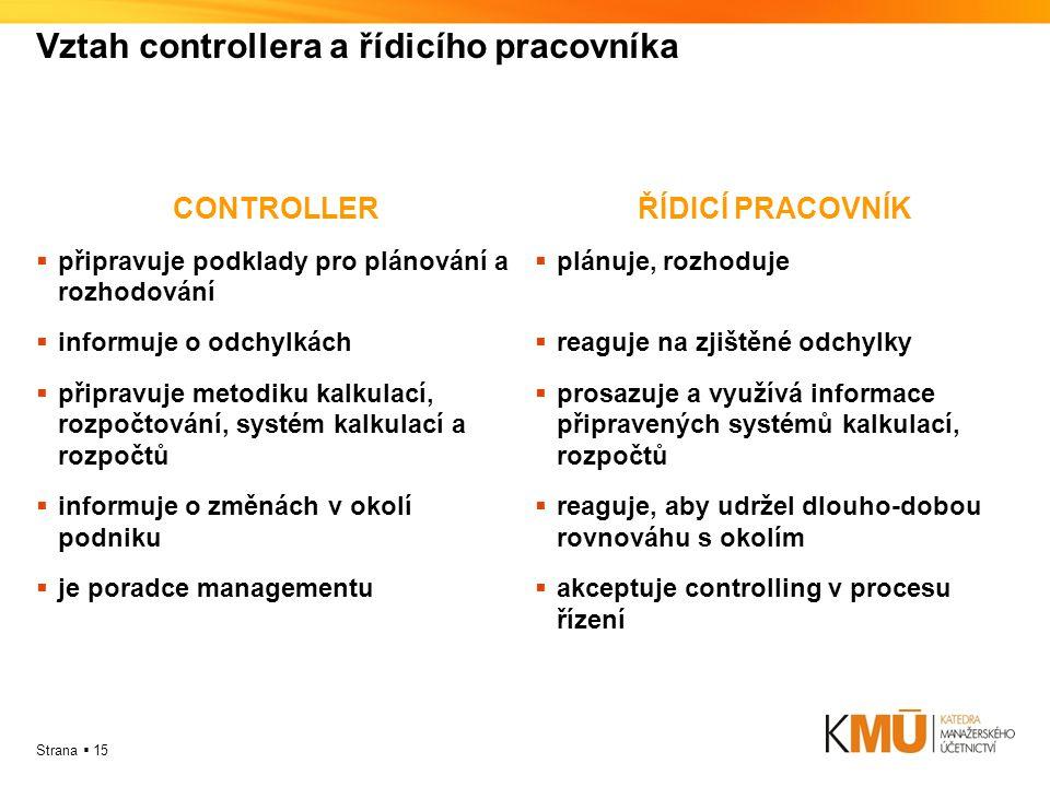 Strana  15 Vztah controllera a řídicího pracovníka CONTROLLER  připravuje podklady pro plánování a rozhodování  informuje o odchylkách  připravuje