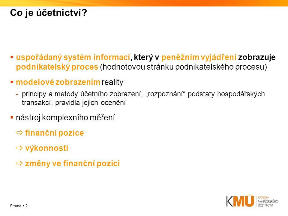Strana  2 Co je účetnictví?  uspořádaný systém informací, který v peněžním vyjádření zobrazuje podnikatelský proces (hodnotovou stránku podnikatelsk