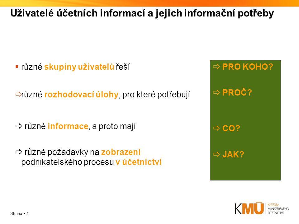 Strana  4 Uživatelé účetních informací a jejich informační potřeby  různé skupiny uživatelů řeší  různé rozhodovací úlohy, pro které potřebují  rů