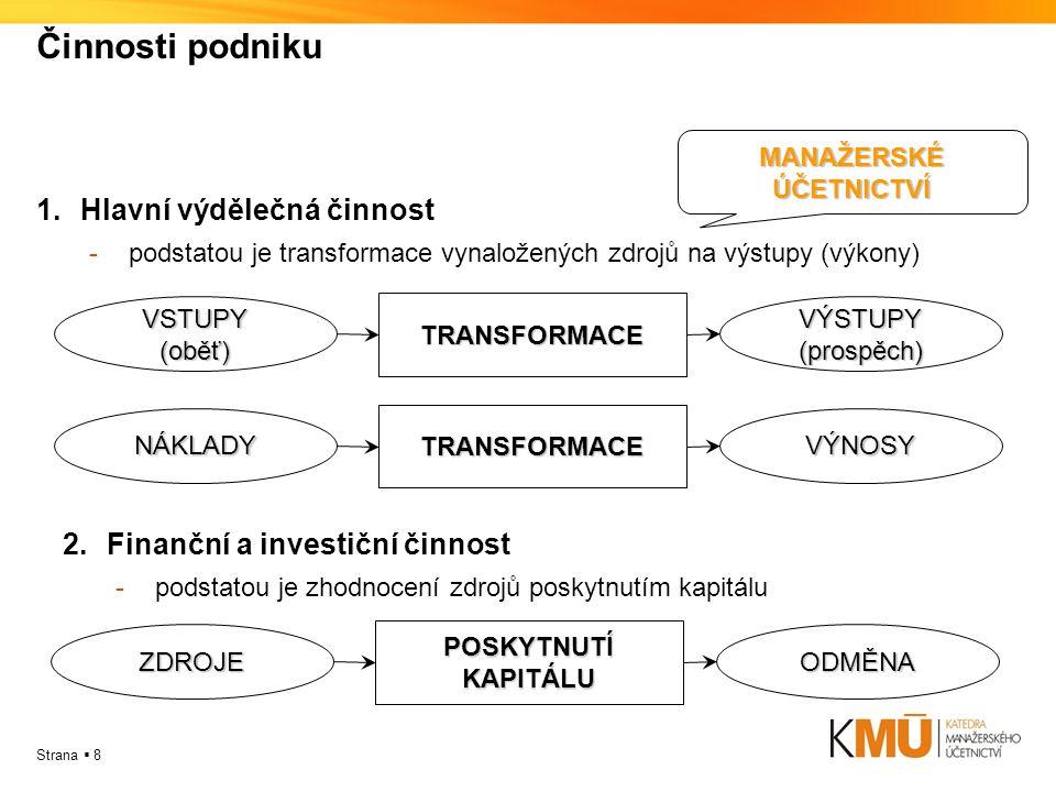 Strana  8 Činnosti podniku 1.Hlavní výdělečná činnost -podstatou je transformace vynaložených zdrojů na výstupy (výkony) VSTUPY(oběť)VÝSTUPY(prospěch