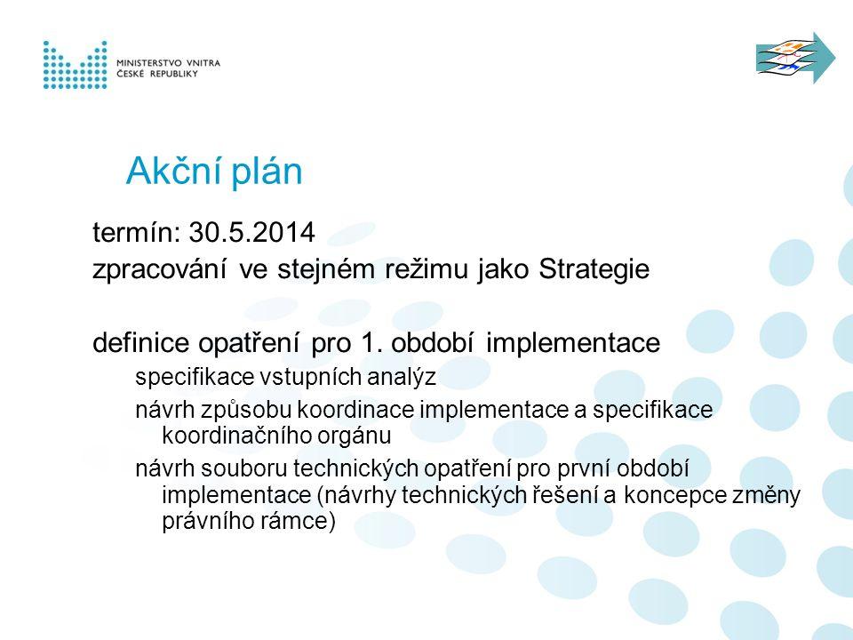 Akční plán termín: 30.5.2014 zpracování ve stejném režimu jako Strategie definice opatření pro 1. období implementace specifikace vstupních analýz náv