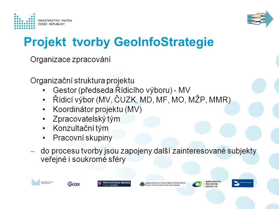 Projekt tvorby GeoInfoStrategie Organizace zpracování Organizační struktura projektu Gestor (předseda Řídicího výboru) - MV Řídicí výbor (MV, ČUZK, MD