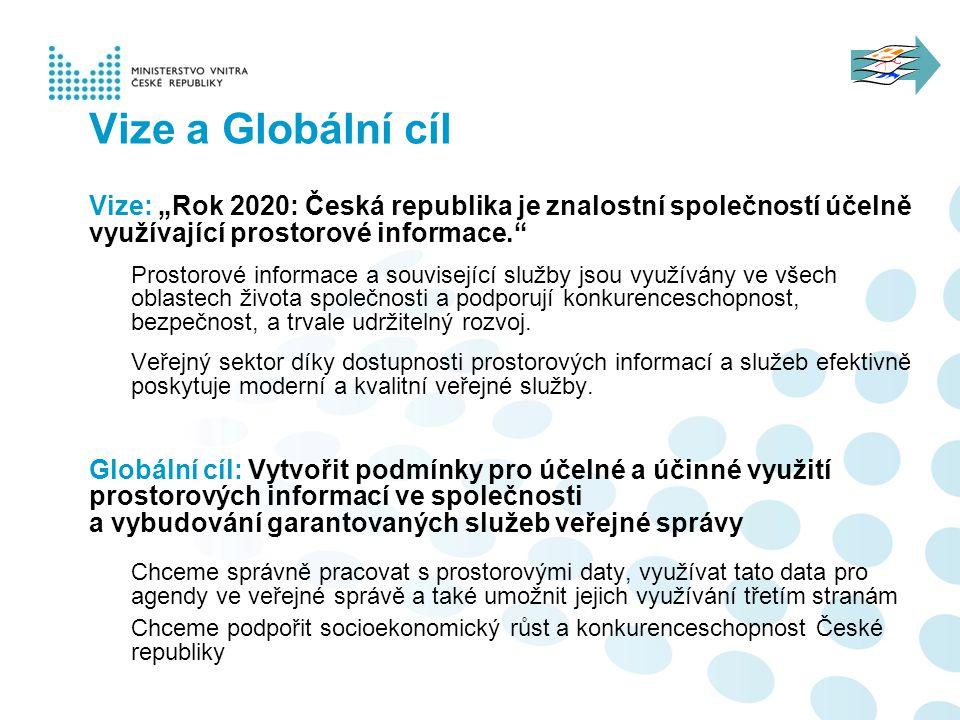 """Vize: """"Rok 2020: Česká republika je znalostní společností účelně využívající prostorové informace."""" Prostorové informace a související služby jsou vyu"""