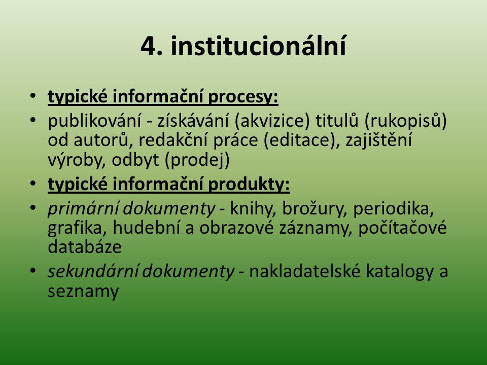 4. institucionální typické informační procesy: publikování - získávání (akvizice) titulů (rukopisů) od autorů, redakční práce (editace), zajištění výr
