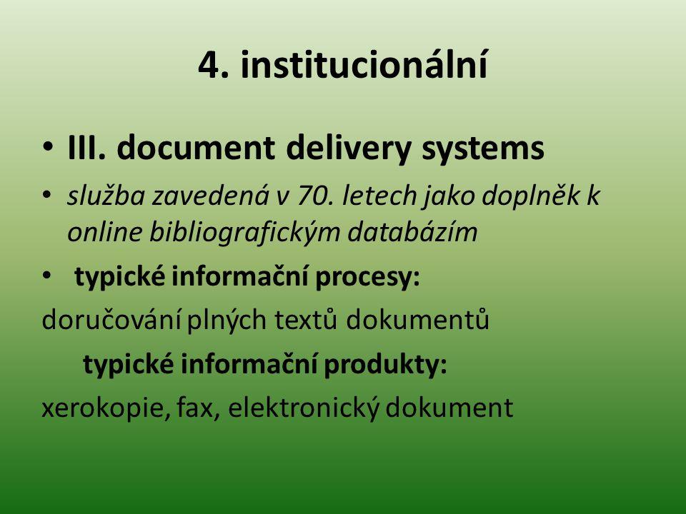 4.institucionální III. document delivery systems služba zavedená v 70.