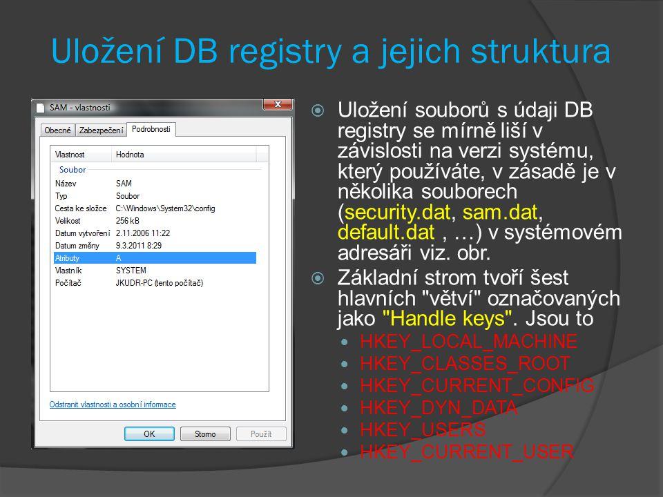 Uložení DB registry a jejich struktura  Uložení souborů s údaji DB registry se mírně liší v závislosti na verzi systému, který používáte, v zásadě je v několika souborech (security.dat, sam.dat, default.dat, …) v systémovém adresáři viz.