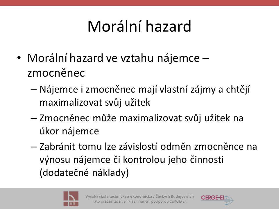 Vysoká škola technická a ekonomická v Českých Budějovicích Tato prezentace vznikla s finanční podporou CERGE-EI. Morální hazard Morální hazard ve vzta