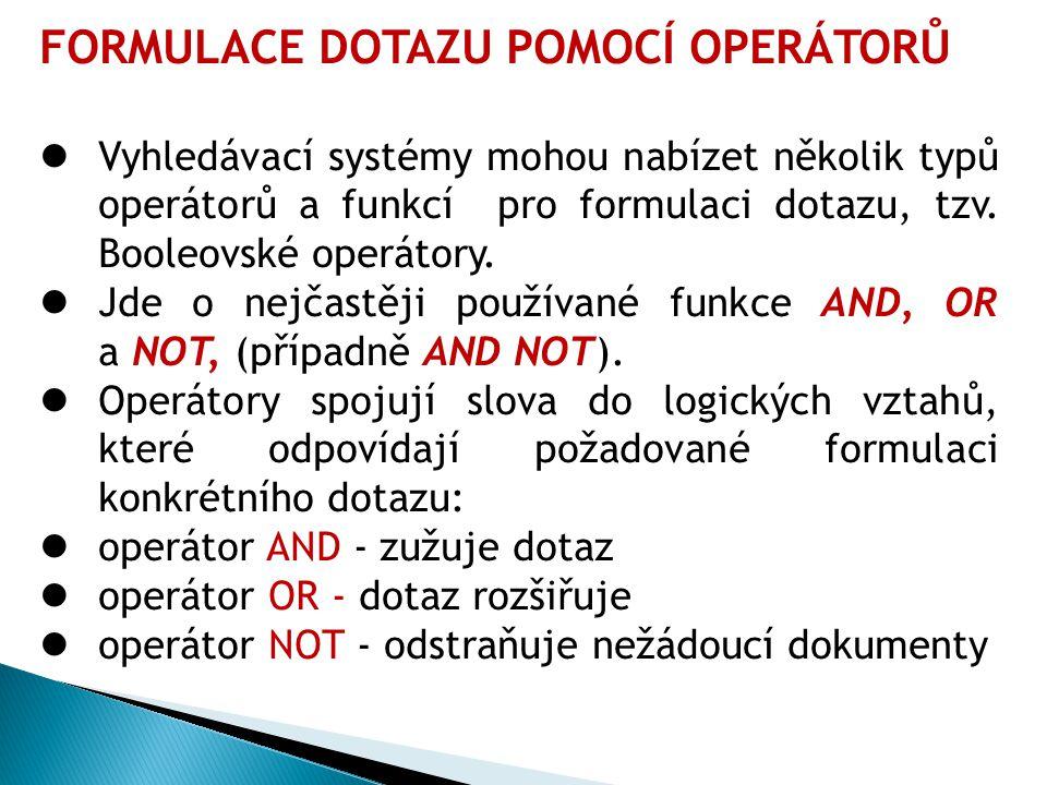 FORMULACE DOTAZU POMOCÍ OPERÁTORŮ Vyhledávací systémy mohou nabízet několik typů operátorů a funkcí pro formulaci dotazu, tzv.