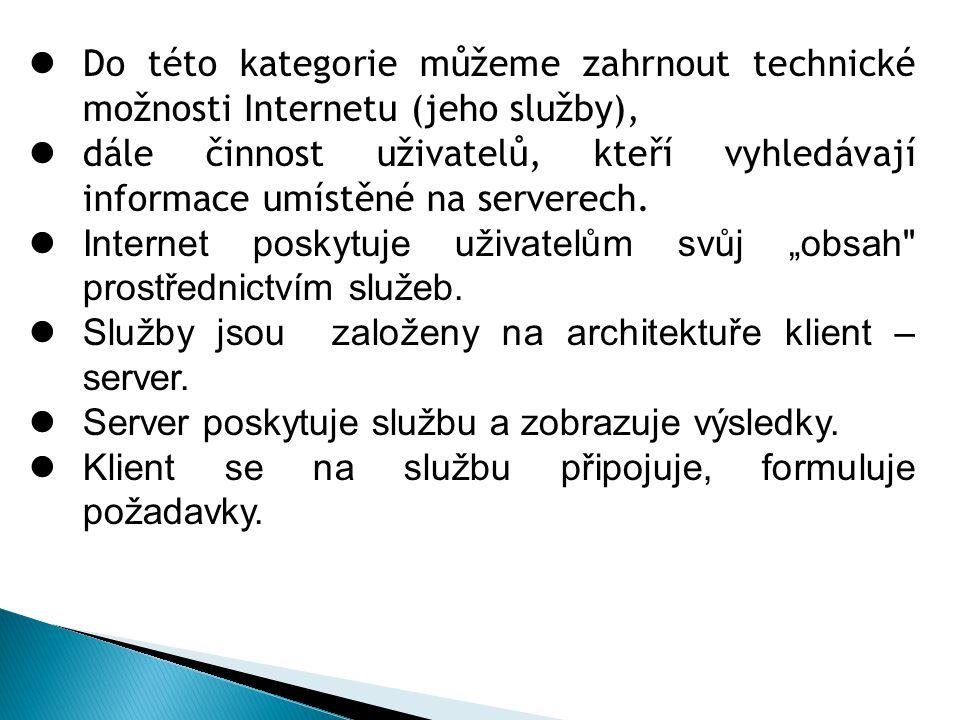 Do této kategorie můžeme zahrnout technické možnosti Internetu (jeho služby), dále činnost uživatelů, kteří vyhledávají informace umístěné na serverech.