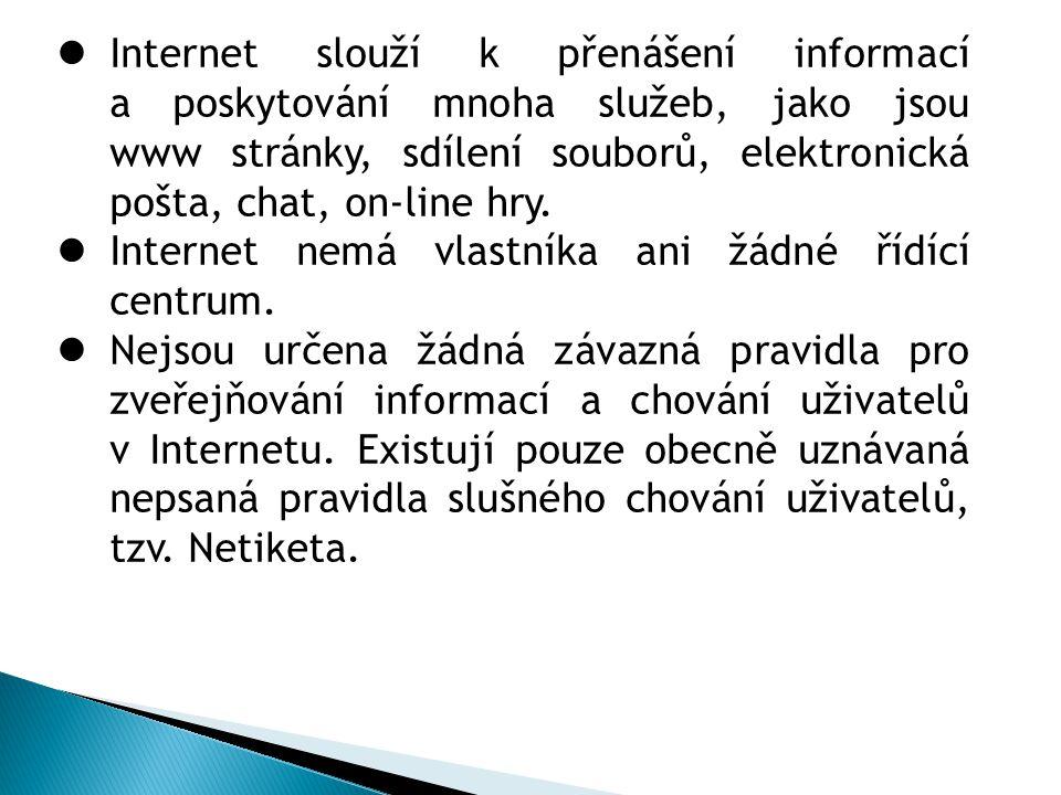 Internet slouží k přenášení informací a poskytování mnoha služeb, jako jsou www stránky, sdílení souborů, elektronická pošta, chat, on-line hry.