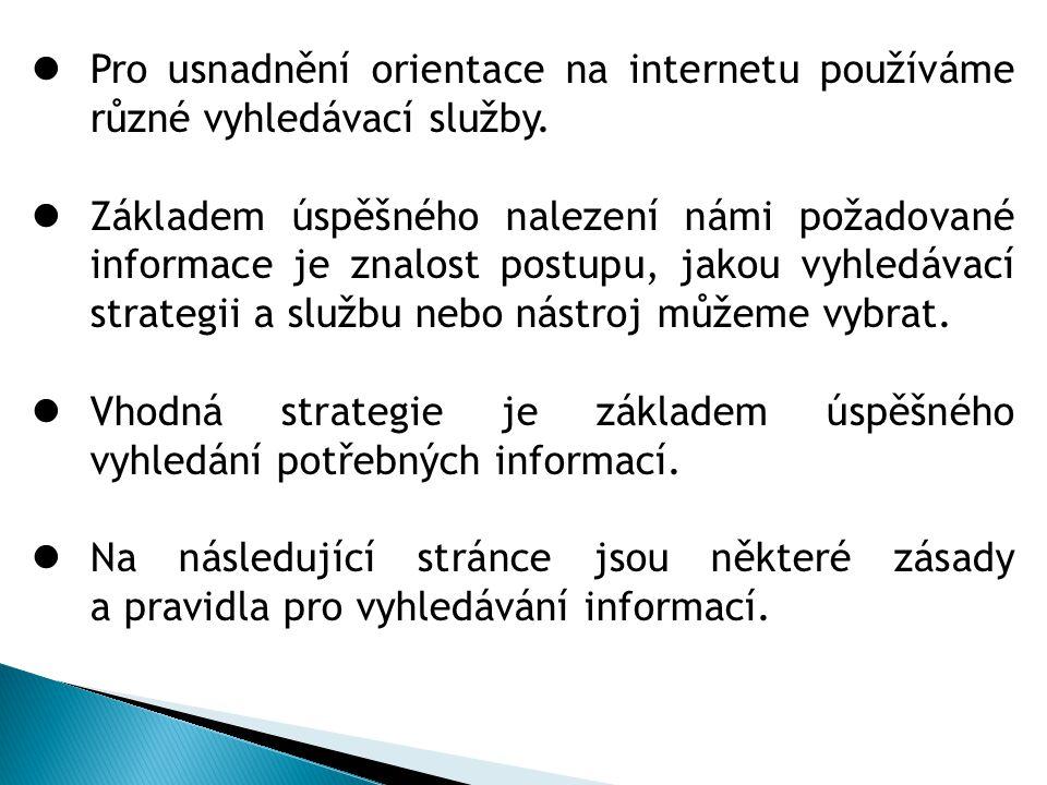 Pro usnadnění orientace na internetu používáme různé vyhledávací služby.