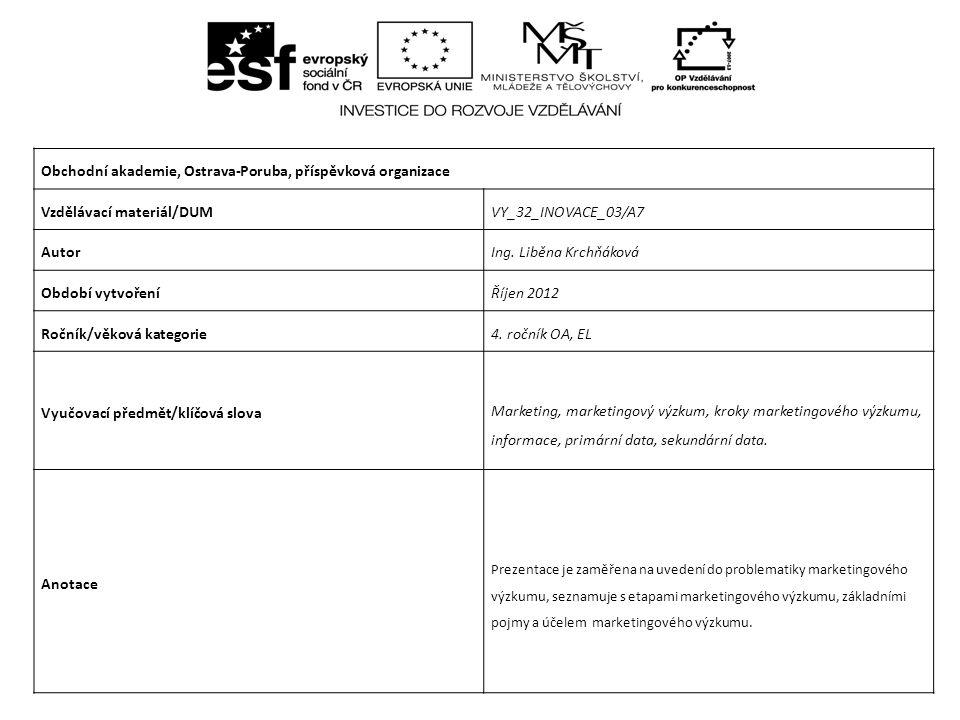 Obchodní akademie, Ostrava-Poruba, příspěvková organizace Vzdělávací materiál/DUMVY_32_INOVACE_03/A7 AutorIng.
