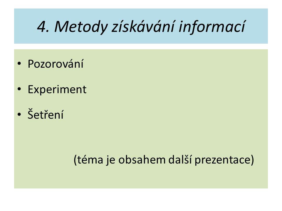 4. Metody získávání informací Pozorování Experiment Šetření (téma je obsahem další prezentace)